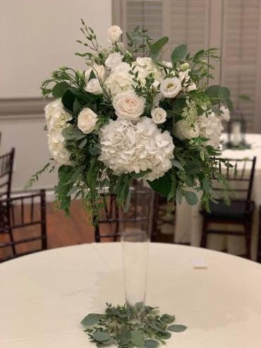 Tall White Garden Centerpiece