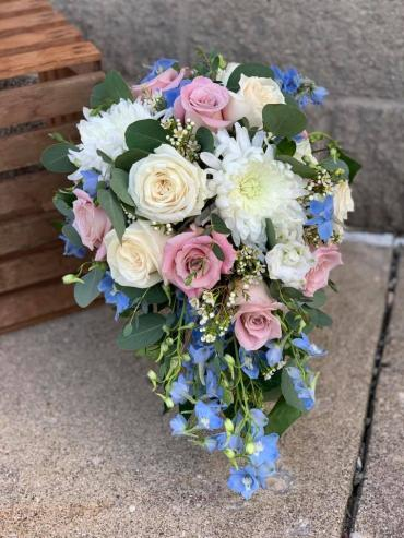 Pink & Blue Cascading Bouquet