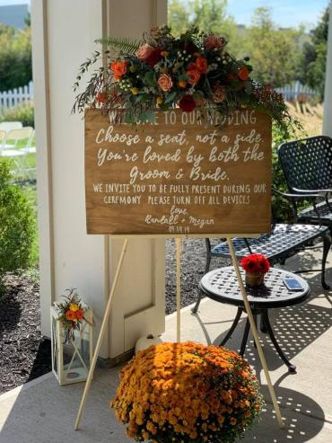 Ceremony Sign Fall Floral Swag