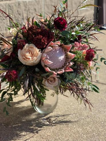 Queen Protea & Burgundy Bouquet