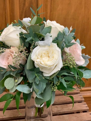Blush & White Rose Bouquet
