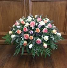 Lutz Pastel Rose Casket Spray