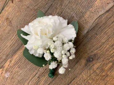 White Carn Boutonniere