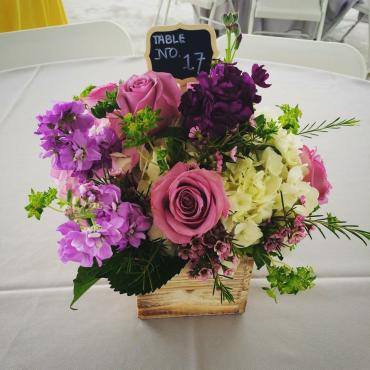 Country Purple Garden Centerpiece