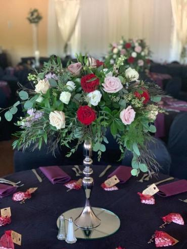 Blush, White & Burgundy Tall Centerpieces