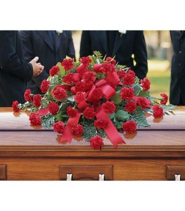 Lutz Red Carnation Casket Spray LCS-16