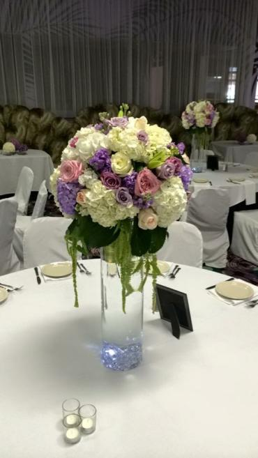 Tall Lavender Lights Centerpiece