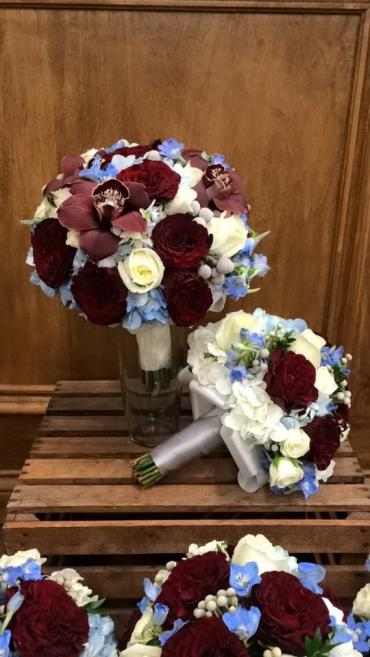 Burgundy & Blue Bouquet