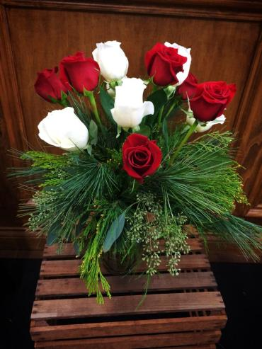 Dozen Roses with Christmas