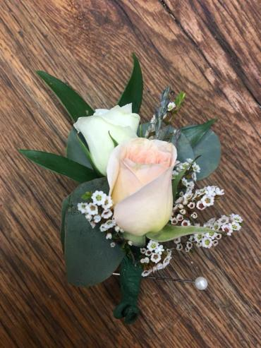 White & Blush Boutonniere