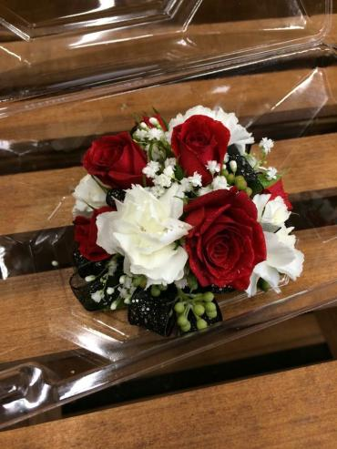 Lutz Red & White Corsage