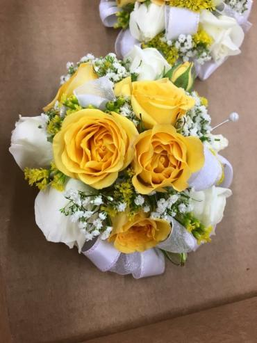 Yellow Frisco Rose Corsage