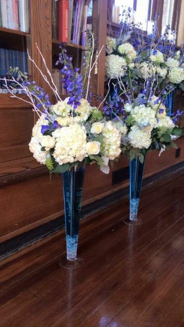 Tall Rustic Blue Centerpieces