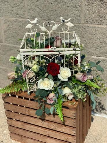 Large Birdcage With Flowers