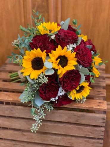 Sunflower & Red Rose Bouquet