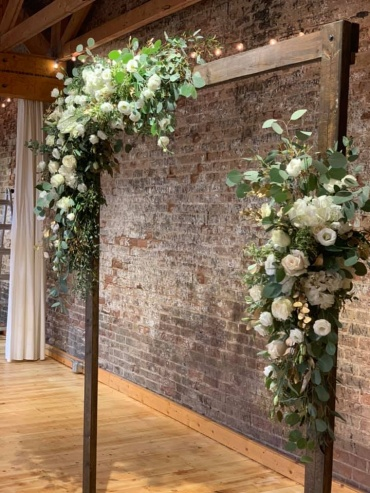 White & gold floral arch swags