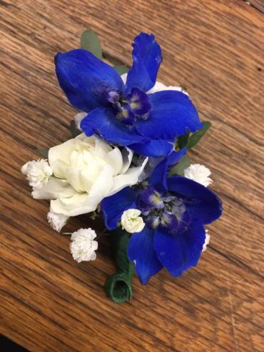 Double Blue Bloom Boutonniere