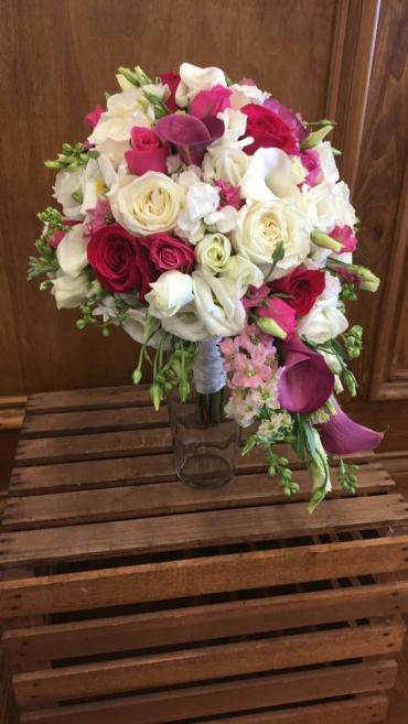 Hot Pink & White Cascading Bouquet