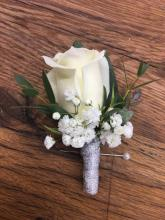 White Boutonniere With Silver Wrap